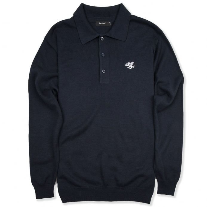 Anglo-Saxon White Dragon Long Sleeved Knitted Polo Shirt - Navy